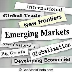 Emerging Markets Newspaper Headlines Global International Growth Illustration