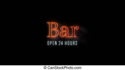 Emerging orange Bar Open 24 Hours neon billboard 4k - ...