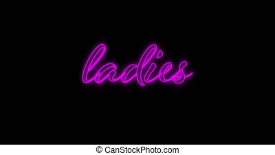 Animation of Emerging pink Ladies neon billboard against black background 4k