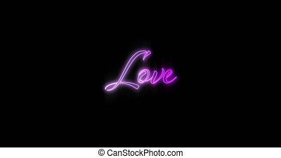 Animation of Emerging purple Love neon billboard against black background 4k