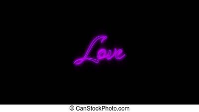 Emerging purple Love neon billboard 4k - Animation of ...