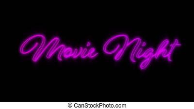 Animation of Emerging Purple Movie Night neon billboard against black background 4k