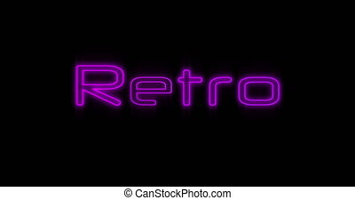 Animation of Emerging purple Retro It neon billboard against black background 4k