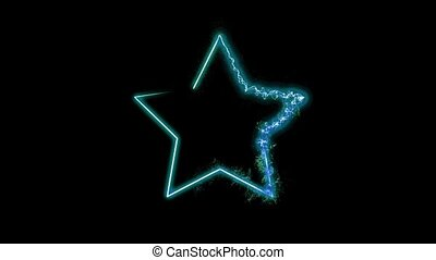 Emerging star under tension on a black background HD...