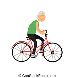 emeryt, kobieta, ludzie, rower, wolny czas, wektor, ilustracja, działalność, jeżdżenie, senior