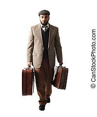 emigrant, homem, com, a, malas