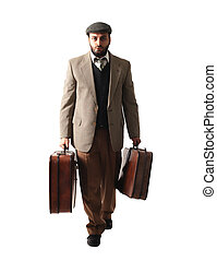 Emigrant man with the suitcases isolated on white background