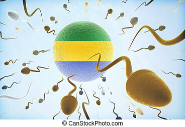 Emigration concept: Sperms swimming away from Gabon.(series)