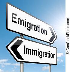 emigration., imigração, ou