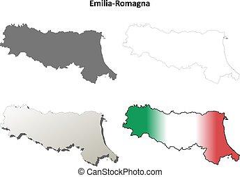 Emilia-Romagna blank detailed outline map set -...