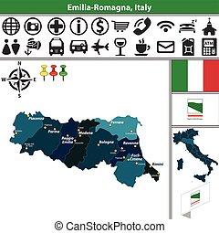 Emilia Romagna with regions, Italy - Vector map of Emilia...