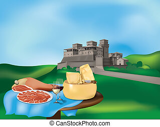 Emilian landscape with castle and typical products: Parma...