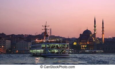 Eminonu, Istanbul - City ferryboat sailing to Eminonu port