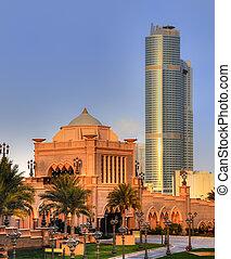 emiraten, paleis, ingang, in, abudhabi