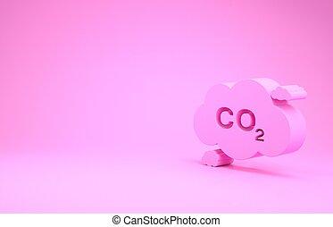 emissões, ícone, co2, 3d, minimalism, concept., smog, símbolo, render, experiência., bióxido, isolado, poluição, fórmula, nuvem, meio ambiente, cor-de-rosa, ilustração, conceito, carbono