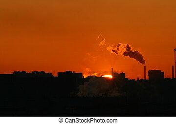 emissões, warming, manhã