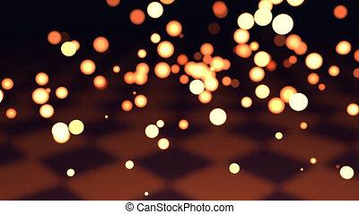 Emission of light, particles floating around. - Emission of...