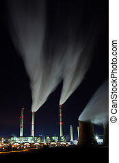 Emission - Coal powerplant air emission at the night