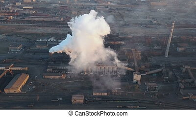 Emission to atmosphere from industrial pipes. Smokestack...