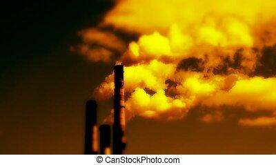 emissionen, von, schädlich, substanzen, in, atmosphäre