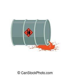 emissions., 屑, 放射性, 液体, ごみ, 危険, 産業, keg., pollution., barrel., 化学物質, 環境, 生態学的, cask., 有毒廃棄物, 有害, 災害