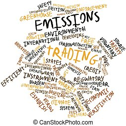 Emissions trading - Abstract word cloud for Emissions...
