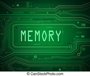 emlékezőtehetség, concept.