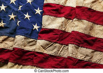 emlékmű, öreg, lobogó, nap, amerikai, 4, háttér, július, ...