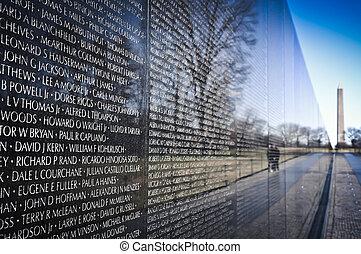 emlékmű, vietnam, washington dc dc, háború