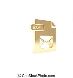 eml, vrijstaand, knoop, render, pictogram, 3d, goud, illustratie, achtergrond., symbool., downloaden, bestand, document., witte