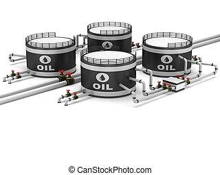 emmagasinage pétrole, réservoir, et, pipeline
