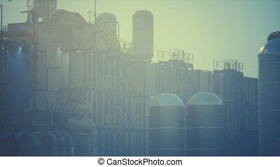 emmagasinage pétrole, raffinerie, usine, réservoirs