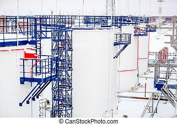 emmagasinage pétrole, usine, haut, raffinerie, réservoirs, fin