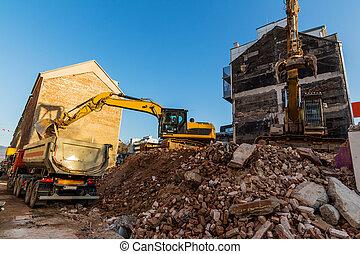 emmagasiner construction, pendant, site démolition