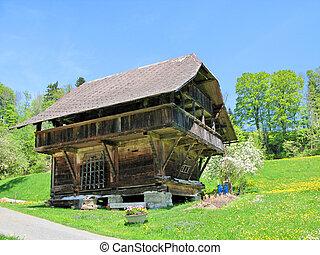 emmental, casa, tradicional, suíça, madeira, região