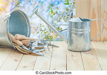 emmer, lente, landbouwkundig, watering, gereedschap, tafel, ...