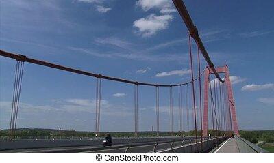 Emmerich Rhine Bridge Traffic  pan suspension bridge + river  landscape