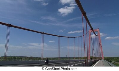 Emmerich Rhine Bridge Traffic pan suspension bridge + river...