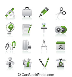 emne, kontor branche, iconerne