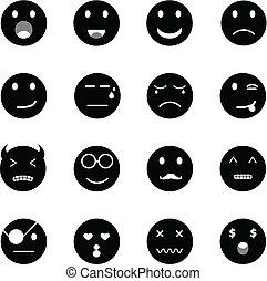 emoção, ícones, rosto, fundo, branca, redondo
