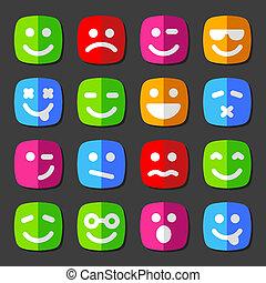 emoção, apartamento, ícones, smiley, vetorial, caras