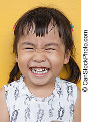 emoção, bom, antigas, mostrar, saudável, 4s, rosto, asiático, ano, dente, rir