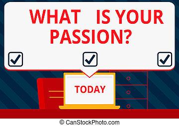 emoção, conceito, apontar, texto, laptop, em branco, seu, controllable, que, escrita, pedir, paixão, fala, branca, bolha, seu, enorme, tela, question., significado, forte, aproximadamente, barely, idea., workspace, letra