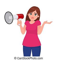 emoção, conceito, duvidoso, human, know., shrugging, cartoon., segurando, oops!, megaphone/loud, corporal, mulher, mostrando, question., ilustração, mão, não, sorry!, língua, enquanto, vetorial, gesto, speaker.