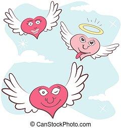 Emoção, corações, voando