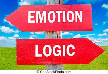 emoção, e, lógica