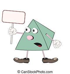 emoção, engraçado, depicts, piramide, sapatos, tabuleta, segura, retangular, seu, verde, surprise., mão, caricatura