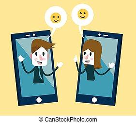 emoção, enviando, mulher, adesivos, smartphone., homem