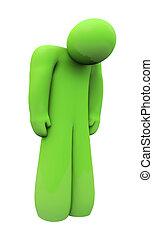 emoção, isolado, triste, pessoa, verde, sozinha, sentimentos, depressão