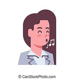 emoção, mulher, femininas, cantando, isolado, rosto, conceito, avatar, expressão facial, ícone